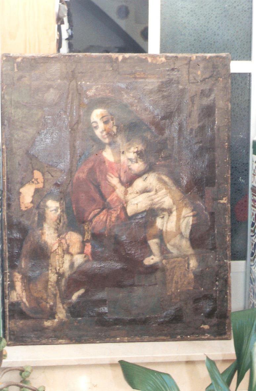 lienzo Virgen con Niño y San Juanito siglo XVIl